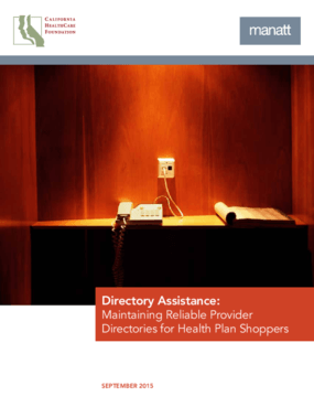 Directory Assistance: Maintaining Reliable Provider Directories for Health Plan Shoppers