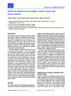 Reform of Abortion Law in Uruguay: Context, Process and Lessons Learned