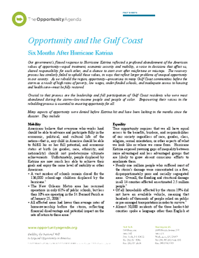 Opportunity and the Gulf Coast: Six Months After Katrina